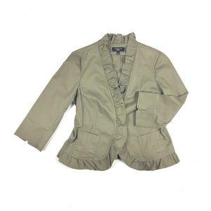 Talbots front ruffle 3/4 sleeve blazer jacket 14P